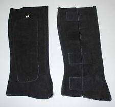 NEW S M L BLACK SUEDE ENGLISH HALF CHAPS STRETCH BREATHABLE LEATHER