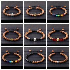 7 Chakra Lion Buddha Helmet Beads Wooden Beads Adjustable Xmas Mens Bracelets