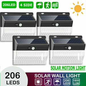 4P 206LED Solar Power PIR Motion Sensor Wall Lights Outdoor Garden Security Lamp