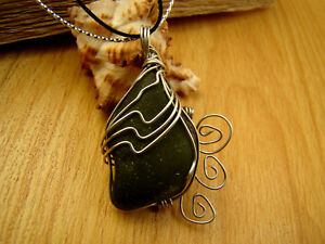 Unique Handmade Sea Glass Jewelry olive green pendant from Black Sea with cord