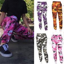 mujer niña Camuflaje Basculador Pantalones Rosa de jogging Hip-Hop