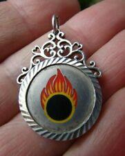 Sterling Silver 925 Enamel Fire Pendant, Charm Hallmark by U&W