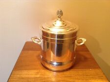 Early antique silver on copper pottery lined handled ice bucket