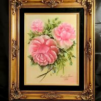 Vtg Oil Painting Pink Roses Ornate Wood Frame Velvet Matte Signed Evelyn Shaw