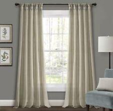 Burlap Knotted Tab Top Window Curtain Panels Dark Linen Pair 45X84 Set