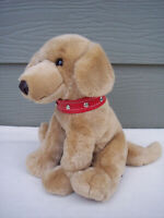 "Brown Dog The Petting Zoo Plush Stuffed Animal 10"" Tall Red Collar VTG 1994"