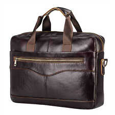 Mens Leather Briefcase Business Handbag Shoulder Bag Laptop Tote Bag