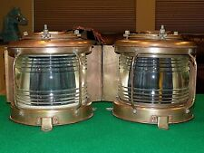 Set of Two Large Vintage Brass Maritime Nautical Masthead Lights by Nippon Sento