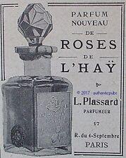 PUBLICITE L. PLASSARD PARFUM LES ROSES DE L'HAY DE 1908 FRENCH AD PUB TRES RARE