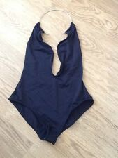 Asos Black Plunge Swimsuit With Gold Ring Neck Sz 10 Bnwot TOWIE