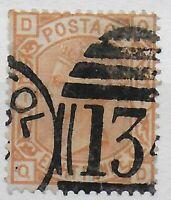 SG156. 8d.Orange. Fine Used With Sharp Strike of Bristol Duplex.  Ref:0362