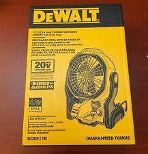 DeWALT DCE511B 20-Volt Max 11-Inch Durable Cordless/Corded Jobsite Fan
