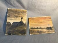 2 Original Signed Paintings Catherine Cathy Luke Nebraska Prairie Landscape Barn