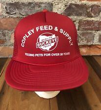 Vintage Trucker Hat Copley Feed & Supply Ohio Buckeye Red Snapback Mesh Foam C1