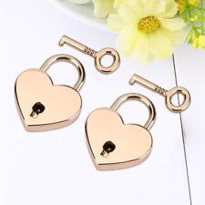 2PCS Heart Shaped Padlock Mini Lock w/ Key for Jewelry Box Storage Box Diary