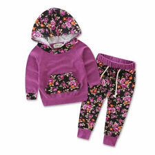 2PCS Newborn Toddler Baby Girls Hooded Tops+Pants Set Kids Clothes Outfits