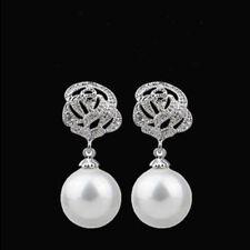 Earrings Drop Dangle Women Jewelry Fashion Elegant Rose Flower Pearl Ear Stud