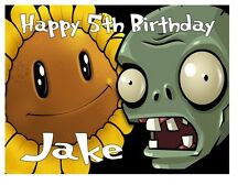 """PLANTS VS.ZOMBIES BIRTHDAY Personalised A4 Icing Sheet 10""""x8"""" Cake Topper"""