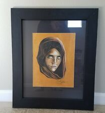 Framed Drawing National Geographic magazine Afghan Girl Haunted Eyes Afghanistan