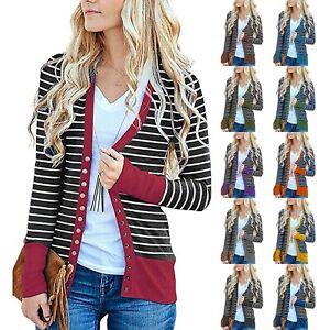 Womens Ladies Cardigan Striped Stitching Long Sleeve Cardigan Jacket Tops Coat £