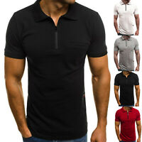 Mens Summer Short Sleeve Zipper Polo Neck Shirts Slim Fit Casual Top T-shirt Tee