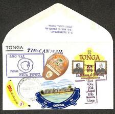 TONGA SCOTT #253 297 352 & 382 STAMPS TIN CAN CANOE MAIL SOUVENIR COVER 1976