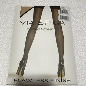 Size E Via Spiga Flawless Finish Sheer Control Top Panty Hose Nude VH-7134