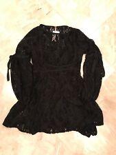 Free people Women's XS Extra Small  Crochet Lace Dress Black Slip Tie Sleeve