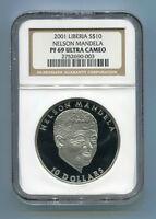 NGC Proof PF 69 Ultra Cameo Liberia Silver 2001 Nelson Mandela $10 Rare Coin
