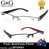 Mens Reading Glasses Metal Half Rim Frame Magnifying 1.0 1.5 2.0 2.5 3.0 3.5