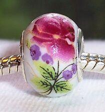 Maroon Rose Green Flowers Red Ceramic Bead fits Silver European Charm Bracelets