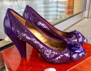 Killah Peeptoes High Heels Stiletto Purple Glitzer 39 + Kette* gratis