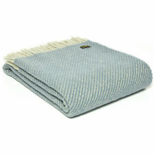 TWEEDMILL TEXTILES 100% Wool Sofa Bed Blanket DIAGONAL STRIPE PETROL BLUE THROW