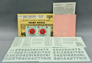CHAMP O SCALE E-4N GREAT NORTHERN STEAM ENGINE DECAL - SIDE FACING