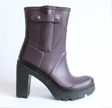 HUNTER ORIGINAL ANKLE WELLINGTONS Plum Pull On Winter Snow Festival Boots UK 7
