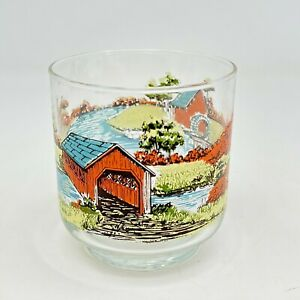 Vintage Libbey Glass Covered Bridge 3 Inch Drinking Juice Glass
