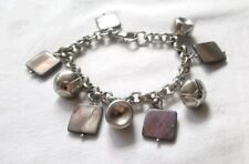 Sterling Silver Bracelet With Mother Of Pearl Charms And Beads