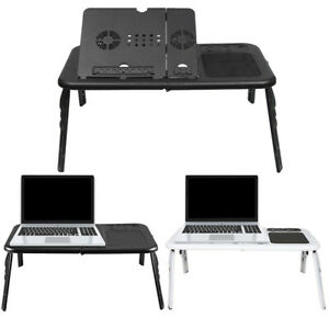 Adjustable Folding Laptop Stand Bed Table Lap Tray Desk with Cooling Fan USB