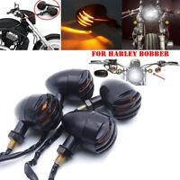 4× Noir Moto Ambre Clignotants Mini Bullet Lumineux clignotant Pour Harley