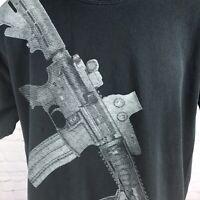 Pro-Gun Assault Rifle Graphic Tee T-Shirt Black Size Large