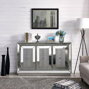 Sofia Sideboard Mirrored Glass Silver Mock Croc 3 Door Cabinet Storage Furniture