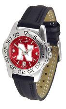 Nebraska Cornhuskers Women Sport AnoChrome Leather Band Watch