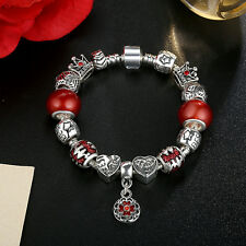 20cm DIY European 925 Silver Charm Bracelet with Red Glass bead & all Charms