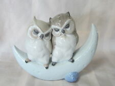 Nao By Lladro Love Story Brand New In Box #1901 Owls Anniversary Half Moon F/Sh