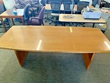 8 Boat Shape Conference Table In Oak Finish Wood With Glass