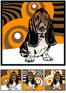Basset-Hound 3 x Pop Art - Retro Bild 70er Lounge Hunde Tierporträt Hundeporträt
