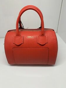 FURLA Alba Pebble Leather Satchel Crossbody Vermiglio 993282 NWT