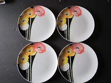 """4 Mikasa Art Deco Porcelain 7.5"""" Salad Plates L1059. Bright Flowers."""