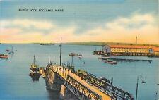Rockland Maine~Public Dock~1940s Postcard