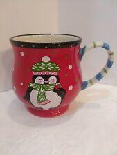 Temptations by Tara16 Oz Christmas Winter Whimsy Penguin Hot Choc Coffee Mug EUC